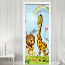 Cartoon Animal Lion Giraffe 3D Door Sticker Murals PVC Self-Adhesive Waterproof Wall Stickers Wallpaper Decals Home Decor Poster