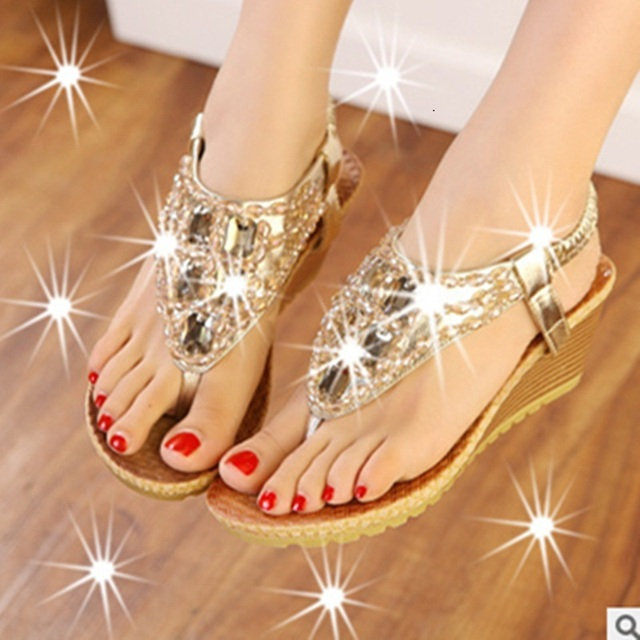 01b111c873 US $30.0 |Ladies Classics Fashion Best selling Elastic band Round Open Toe  Thick Wedges high heels sandals Women Pumps Summer Beach Shoes-in Women's  ...