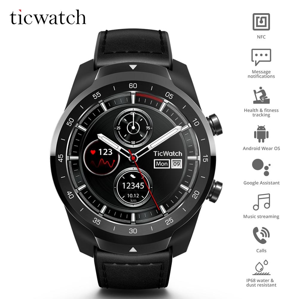 D'origine Ticwatch Pro Bluetooth montre connectée IP68 Couches support D'affichage Paiements NFC/Google Assistant Porter OS par Google 415 mAH