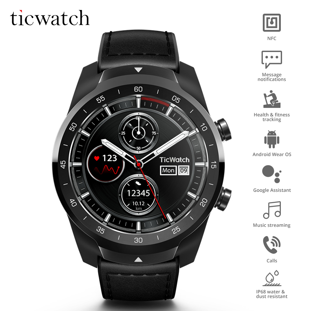 D'origine Ticwatch Pro Bluetooth montre connectée IP68 Couches support D'affichage Paiements NFC/Google Assistant Porter OS par Google 415 mAH