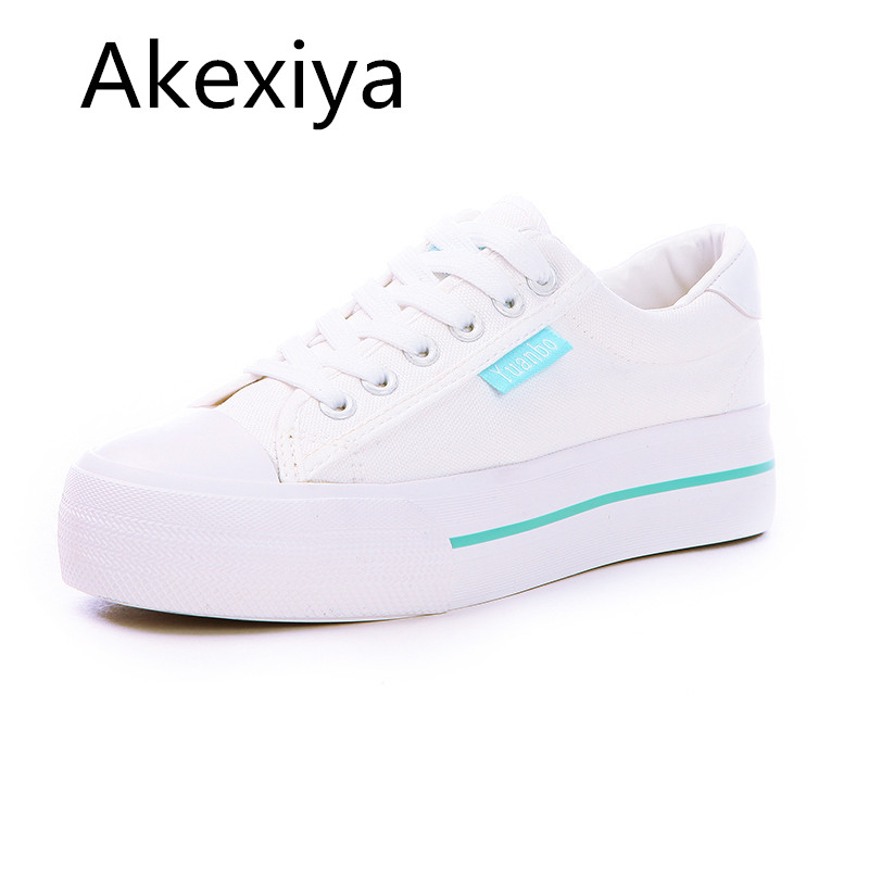 Akexiya  New 2017 Breathable Shoes Woman Platform Canvas Shoes Women Thick Sole Casual Shoe White Zapatos Mujer