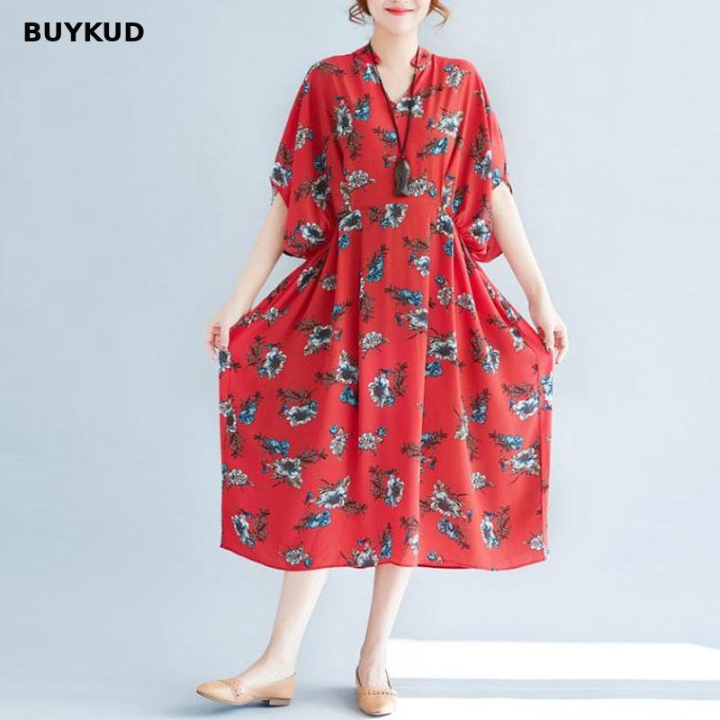 BUYKUD mode v-cou lâche imprimé en mousseline de soie robe rouge 2018 nouveau été femmes robes de grande taille XL