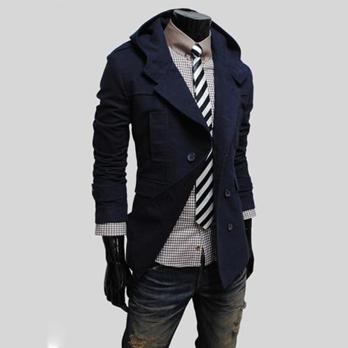 2016 Nova Moda Magro Cidade Design de Moda Jaqueta Corta-vento Com Capuz Double Breasted Outono Inverno Homens Trench Coat Jacket 13M0157