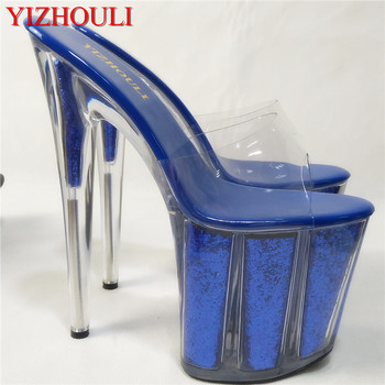 Sexy Blue Glitter Clear Crystal Sandals 20cm Hot Selling Lady's High Heels 8 Inch High Peep Toe Sweetness Slippers