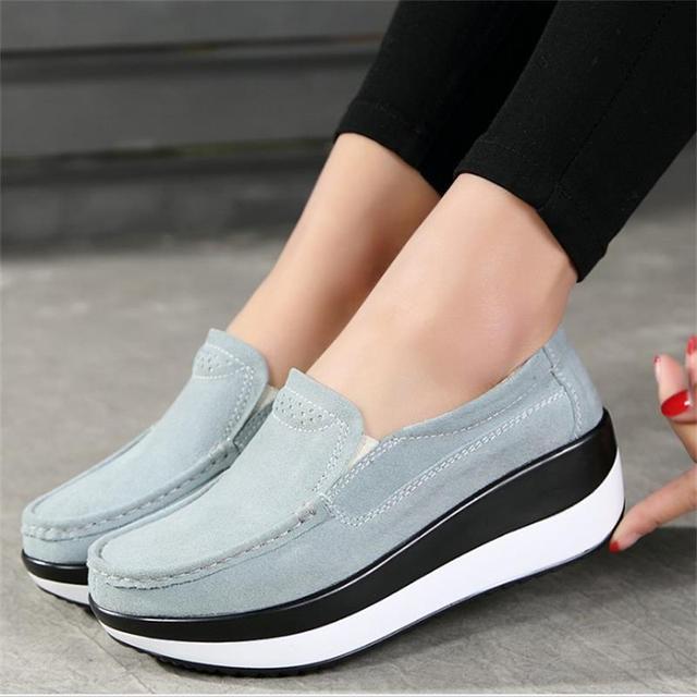 cc5abf2a323 Mujer pisos plataforma 2018 Primavera Verano moda mocasines Mujer Zapatos  casuales cómodos zapatos de mujer pisos