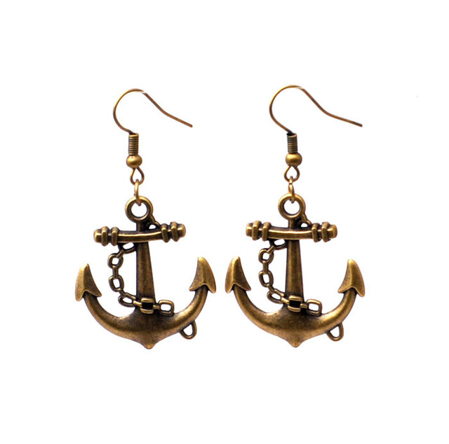 anchor  Retro Western style bronze alloy drop earrings fashion jewelry for gilrs [JCZL DIY Shop]