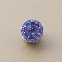 Original 925 Sterling Silver Micro Pave Crystal Cube Zircon Charms DIY Beads Fits Pandora Bracelets
