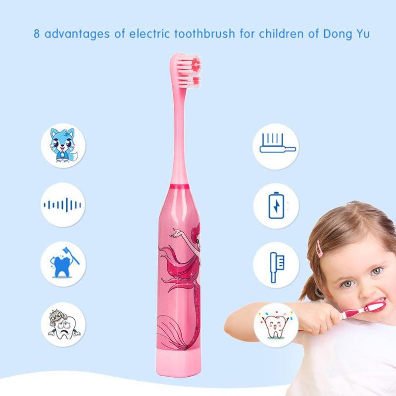 Children Electric Toothbrush Cartoon Pattern Double-sided Tooth Brush Electric Teeth Brush For Kids with 2pcs Replacement Head4