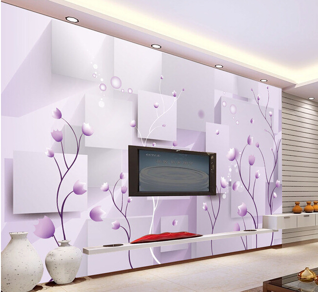 3D wallpaper custom mural non-woven wall paper  3 d purple romantic flower TV setting wall painting photo wallpaper for walls 3d цена