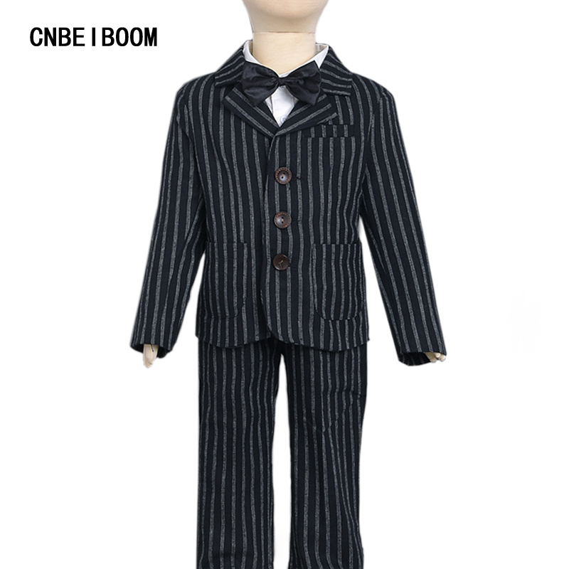 Boy Wedding Suits Stripe Fashion Three-Pieces Boys Formal Suit For2-7 T Children Wear Coat Pants Shirt with Bow Englan Stlye kids spring formal clothes set children boys three piece suit cool pant vest coat performance wear western style
