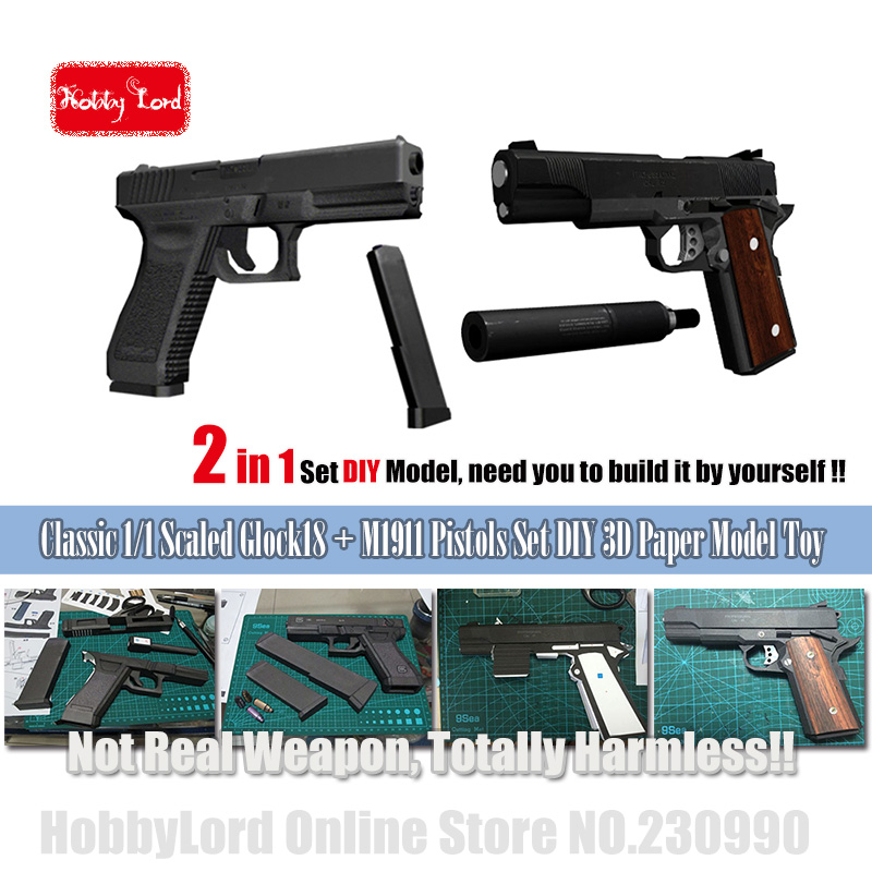 2019 New 2in1 Glock18 M1911 Paper Model Toy Gun Pistol Draw Pages 3d Diy Military Paper Puzzle 3D Paper Model Cosplay Weapon Toy