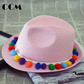 Baby Fedora Hat Fashion Solid Children Straw Hat Hairball Accessories Kids Sun Hat Panama Grils Beach Caps Lovely Baby Clothing