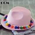 Bebê Fedora Hat Crianças Straw Hat Hairball Moda Sólida Acessórios Crianças Grils Panamá Chapéu de Sol Praia Caps Roupa Do Bebê Adorável