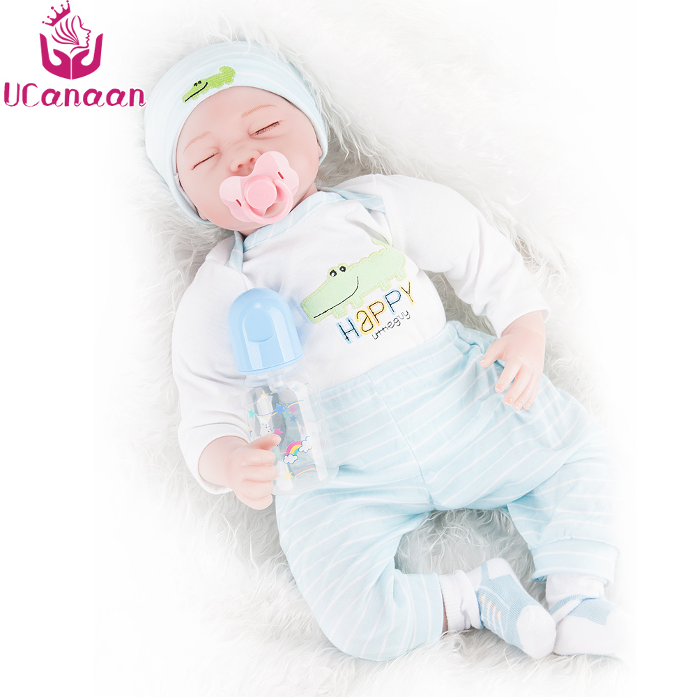 UCanaan Sleeping Baby Born Doll 55CM Soft Cloth Body Doll Reborn Silicone Lifelike Baby Alive Toys For Children Play House Gifts ucanaan 55cm soft silicone doll reborn