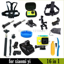 For Xiaomi Yi Accessories Camera Waterproof Case+Lens Cover+Chest Head Monopod Wrist for Xiaomi Yi Action Sport Camera