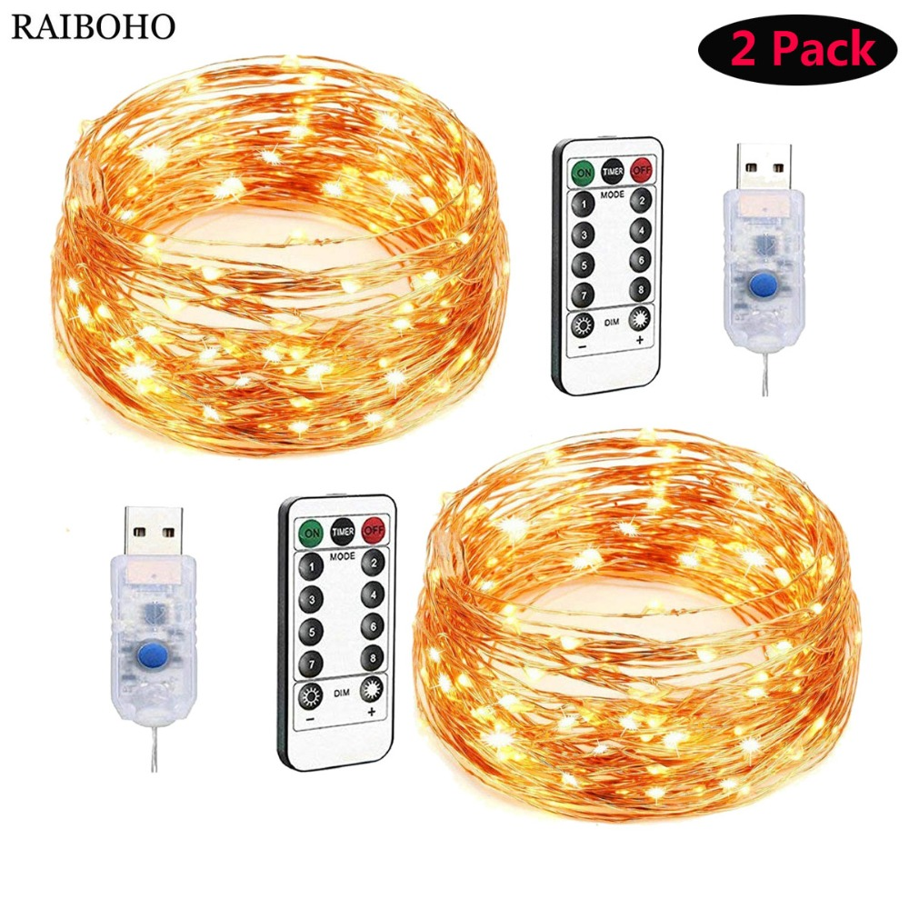 2Pack LED String Lights USB Fairy Lights 50/100/200 LED Copper Wire Lights For Christmas Wedding Decoration 8 Modes With Remote