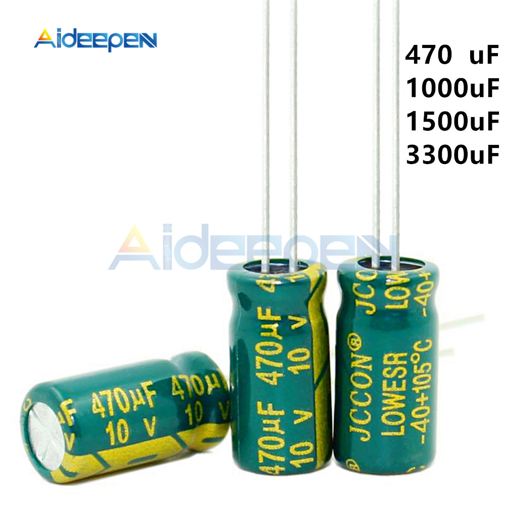 10pcs/Pack 10V Low ESR High Frequency Aluminum Capacitor 470UF 1000UF 1500UF 3300UF