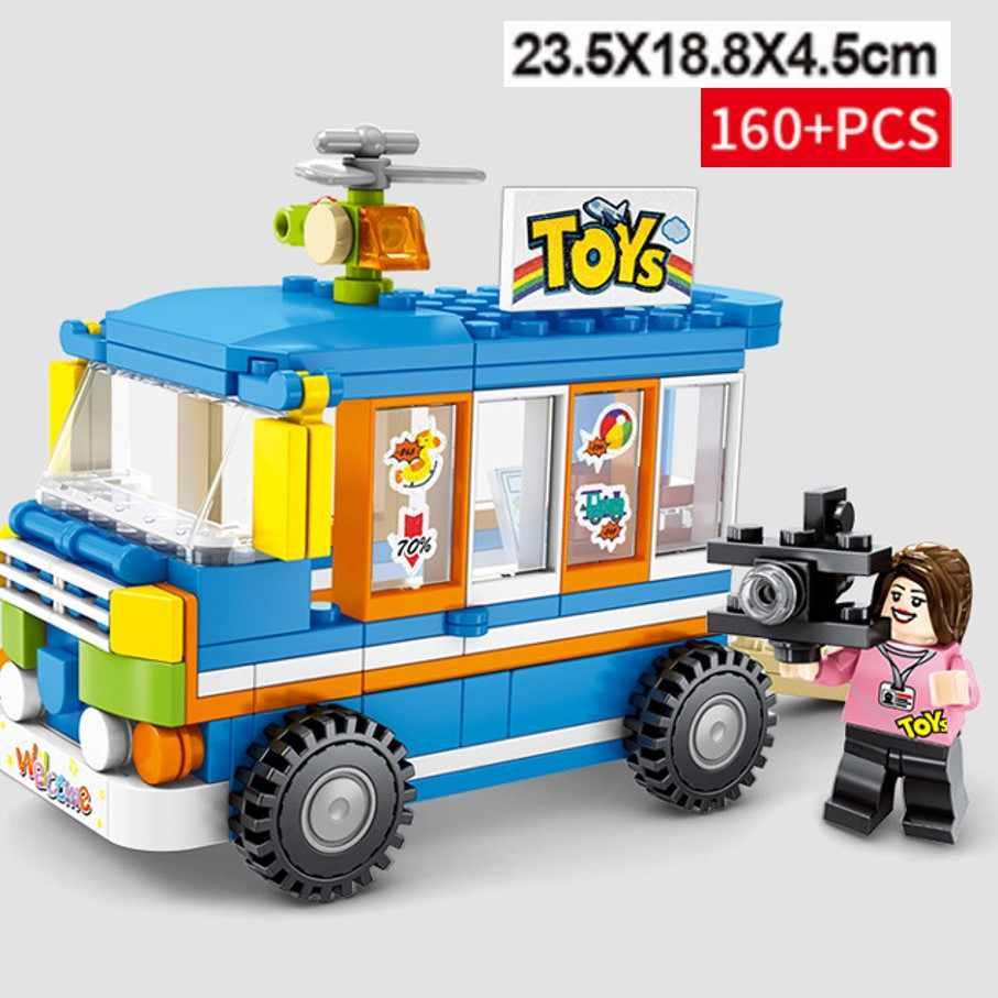 4 с изображением уличного магазина автомобиля барбекю, лед-крем суши барбекю, совместимые с LEGO, строительные блоки, развивающие игрушки подарки для детей