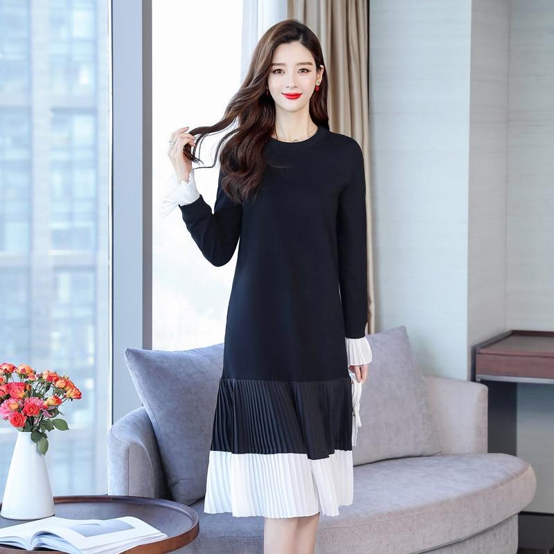 Robe Noir Élégante H204 De Mode Pour Manches Tenue Patchwork Fête Femme Vintage Ligne O 2019 Une Nouvelle Longues Femmes Cou wRH7qA