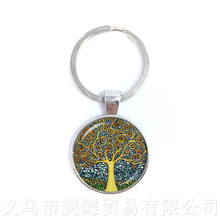 Cabala Keychains Tree of Life Glass Cabochon Keyring Accessories For Men Women Children Creative Pendant