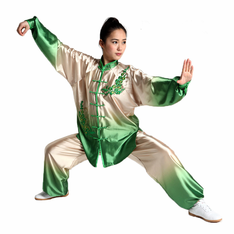 все цены на Womens High Quality Gradient Tai Chi Suits Kung Fu Sets Embroidery Performance Clothing Martial arts Uniforms онлайн