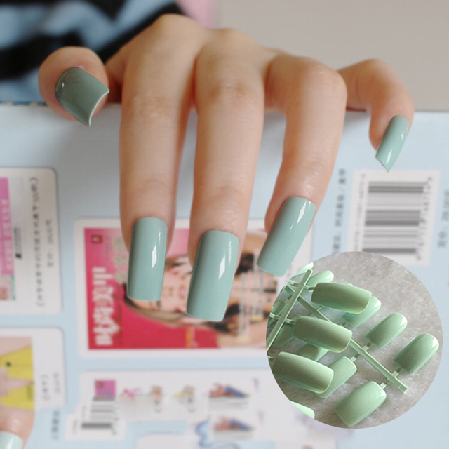 20pcs Flat Curved DIY False Nails Candy Light Green Nail Art Acrylic ...