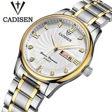 Reloj de Los Hombres 3ATM Impermeable de Acero Inoxidable Auto Fecha Relojes Para Hombre de Primeras Marcas de Lujo CADISEN de Oro Reloj de Cuarzo relogio masculino