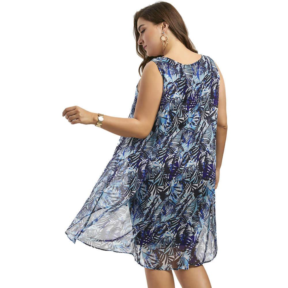 0902678fef Wipalo Plus Size Sleeveless Chiffon Insert Layered High Low Dress Women  Sexy Party Dress Big Size Summer Dress 5xl Robe Femme