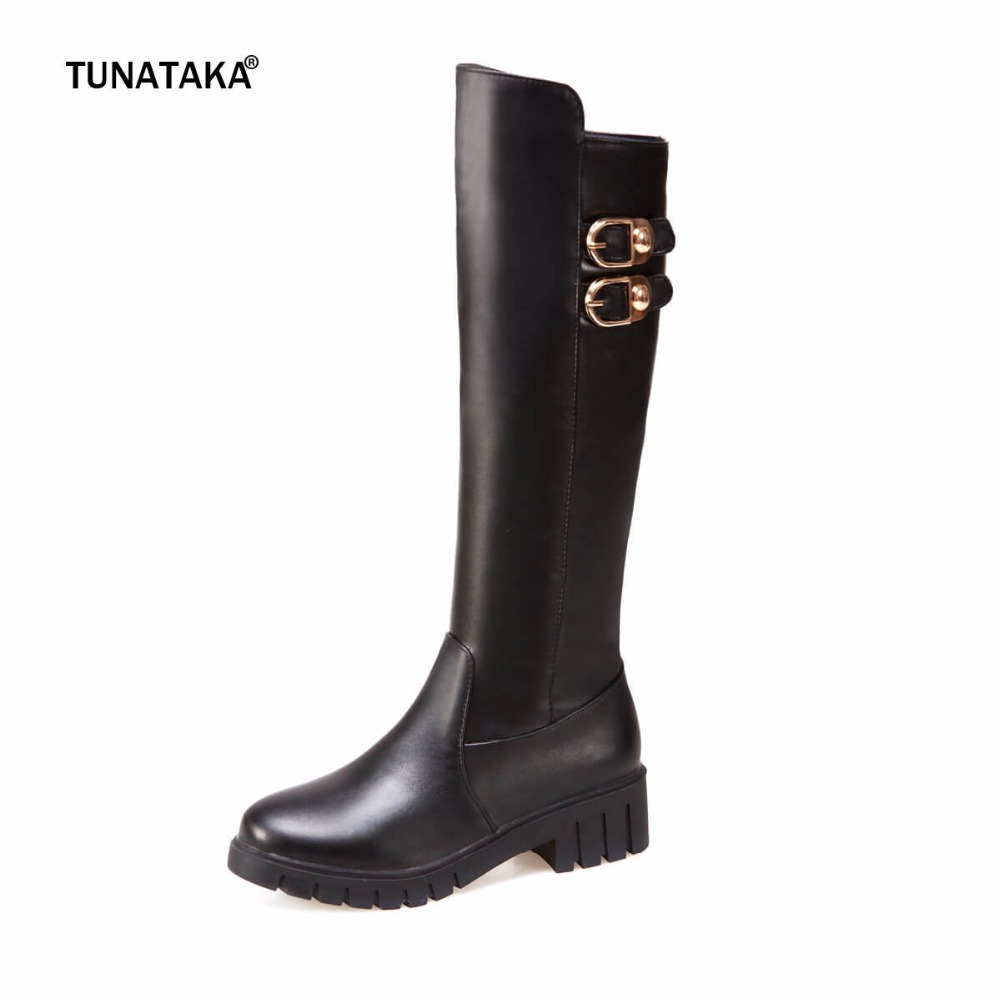 Women Thick Heel Knee High Boots Fashion Platform Side Zipper Buckle Shoes Woman Black White women platform square high heel ankle boots fashion side zipper round toe shoes woman black white beige