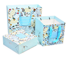 10pcs/lot New Flower Print Gift Hand Bag Wide Bottom Square Paper Bag Cake Bread Flower Tote Bag Weddong Party Candy Bag calico print tote bag