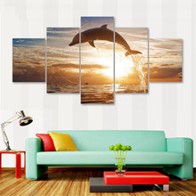 Large Poster HD Printed Painting Canvas Home Decoration 5 Pieces Animal Dolphins Wall Art Modular Pictures For Living Room Frame(China)