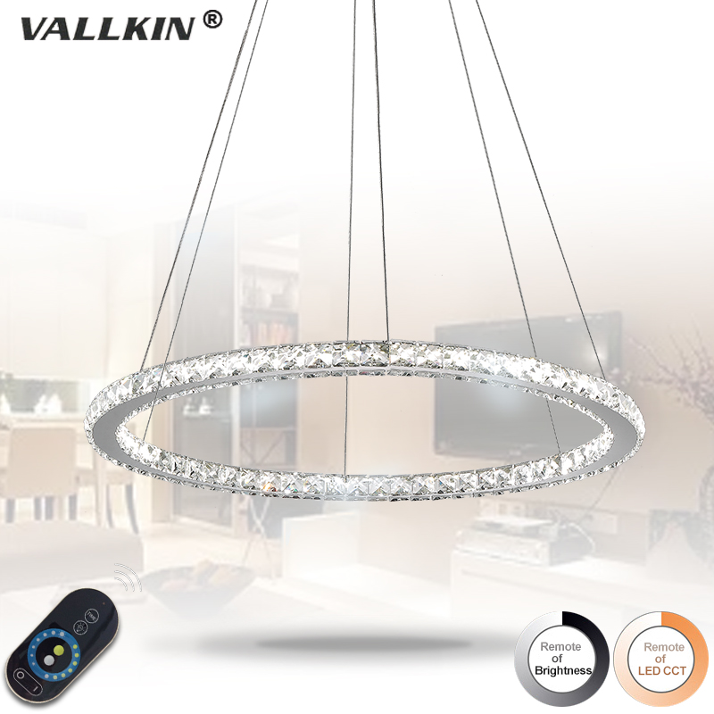 Dimmable Diamond Round Ring Led Pendant Light For Kitchen Suspension Luminaire Lustre Living lamp circles Hanging Lamps Lights