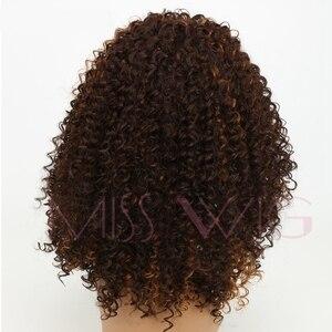 Image 5 - MISS PRUIK 16Inch Lange Kinky Krullend Pruiken voor Zwarte Vrouwen Bruin Synthetische Pruiken Afrikaanse Kapsel Hoge temperatuur Fiber