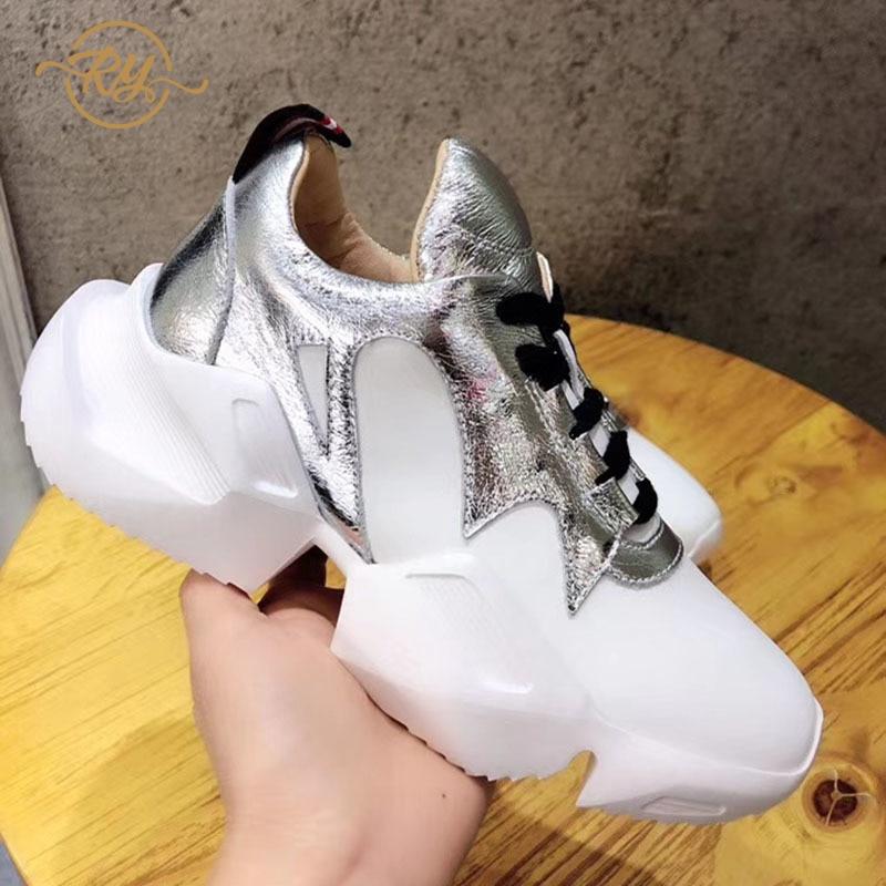 RY-RELAA femmes sneakers 2018 marque de luxe en cuir chaussures chaussures de luxe femme designer off chaussures blanches de femmes zapatos de mujer