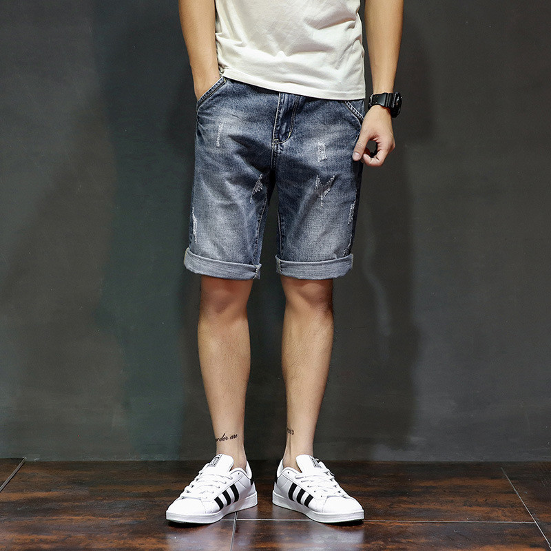 Blue Jeans Short Homme-De-Marque Summer Mens Denim Thin Scratched Casual Knee-Length