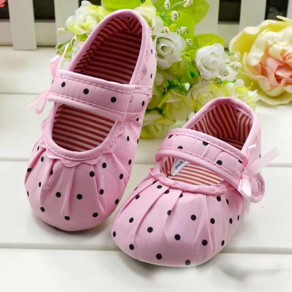 Baby Childrens Girls First Walkers Polka Dot Prewalker Toddler Infant Soft Shoes 0-1Y Size 1 2 3