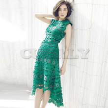 Cuerly 2019 New arrive High Quality summer dress Runway Water soluble lace Hollow embroidery slim green asymmetric dresses