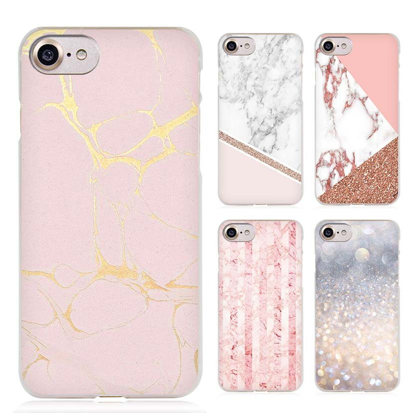 Stalactite Pink Marble glitter Clear Cell Phone Case Cover for Apple iPhone 4 4s 5 5s SE 5c 6 6s 7 7s Plus