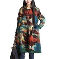 Runway Women Medieval Long Hoodies Dress Long Sleeve O Neck Print Loose Vintage Hoodie Cotton Pullover