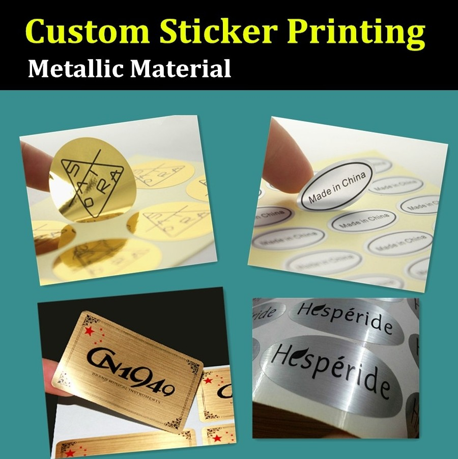 Us 75 0 oem order custom sticker printing metallic material made printing label silver golden sticker in stickers from home garden on