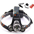 T6 Xm-L Led Farol 5000Lm Farol Cabeça da Tocha Lanterna Lanterna Cree T6 Xml Com 18650 Bateria/Ac Carregador de Carro Luz de pesca