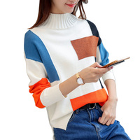 Temperament Hit Color Turtleneck Knitted Sweater Womens Pullover Tricot Tops 2017 Autumn Winter Cashmere Warm Pull