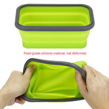 4pcs Rectangle Silicone Lunch Box Collapsible Portable Bowl Bento Boxes Folding Food Container 350/500/800/1200ml