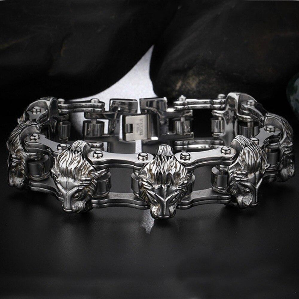 22.5mm haute qualité Cool acier inoxydable argent Punk tête de Lion moto motard chaîne hommes Bracelet Bracelet cadeau de noël 8.26