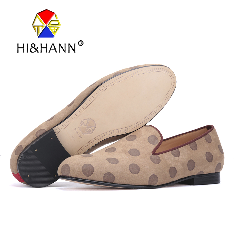 2017 New Handmade men velvet shoes with polka dot design luxurious Leather bottom smoking slippers men dress loafers male's flat