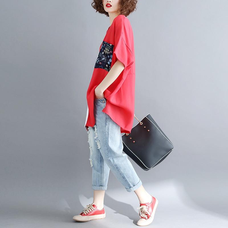 BIG SIZE 5XL 2019 Summer Women Fashion Elegant Cartoon Print Tops Lady Female Large Sleeve Oversize Loose Cotton Split T shirt 3