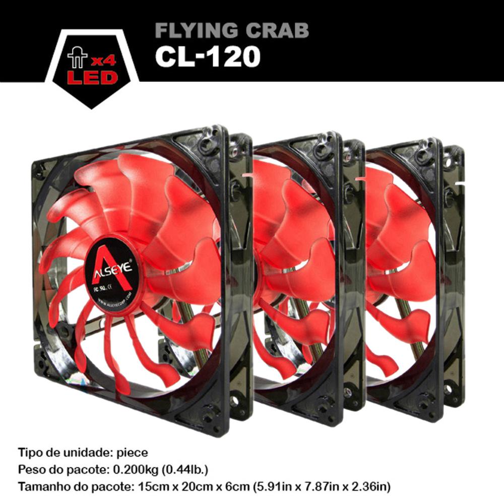 Prix pour Alseye ordinateur ventilateur (3 pièces) 120mm LED fan pour cpu refroidisseur/eau de refroidissement 12 v 1800 RPM 3pin radiateur Bleu et Rouge disponible