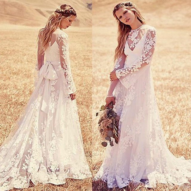 Dramatic Lace Bohemian Wedding Dresses Long Sleeves 2016 Scoop ...