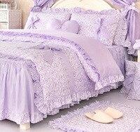 Романтический Фиолетовый Цветочный комплект постельных принадлежностей, две девушки Полный Королева Король 100% хлопок рюшами Постельное б