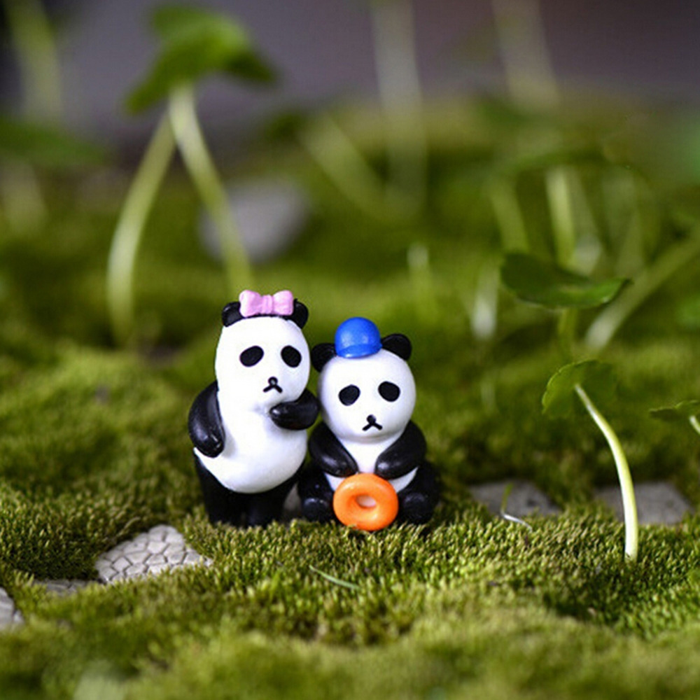 NEW Hot Sale 4Pcs Hot Sale Resin Craft Miniature Garden Decor Resin Artesanato Resin Mini Cartoon Panda Figurine